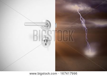 Closeup of door with metal doorknob and lock against lightning strikes on landscape