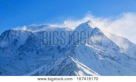 Blizzard on the highest European mountain peak Mont Blanc.