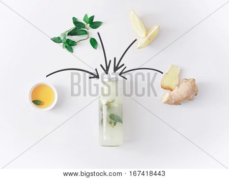 Detox lemonade drink concept, smoothie ingredients collage. Natural, organic healthy juice in bottle for weight loss diet or fasting day. Mint, honey, lemon and ginger mix isolated on white background