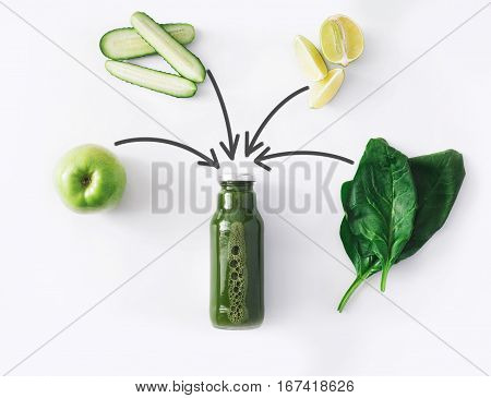 Detox cleanse drink concept, green vegetable smoothie ingredients. Natural, organic healthy juice in bottle for weight loss diet or fasting day. Cucumber, apple, lime and spinach mix isolated on white
