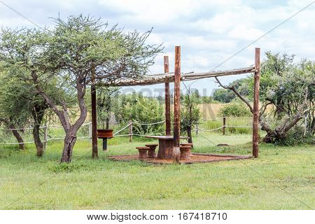 landscape with picnic area in the bushveld