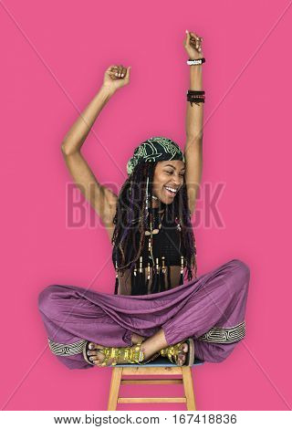 African Woman Smiling Happiness Arms Raised Ecstatic
