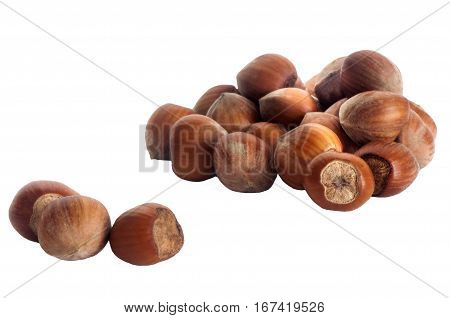 Hazelnuts Over A White Background