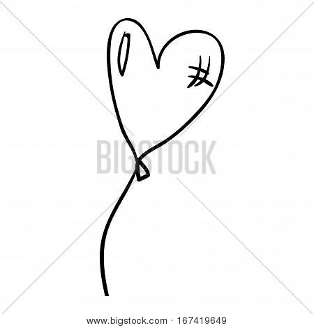 silhouette balloon in heart shape with cord vector illustration