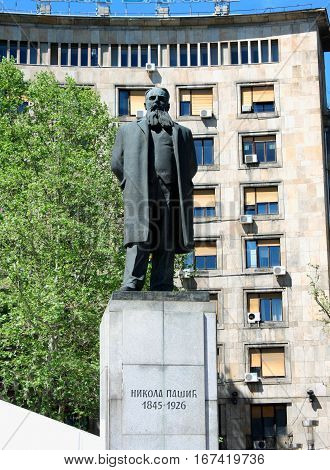 Belgrade Serbia: aug 21. 2016 - Nikola Pasic Square with monument in Belgrade - Serbia