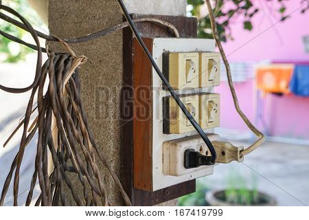 close up old electricity switches with plug and socket