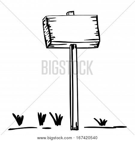 silhouette wooden placard with stake and grass vector illustration