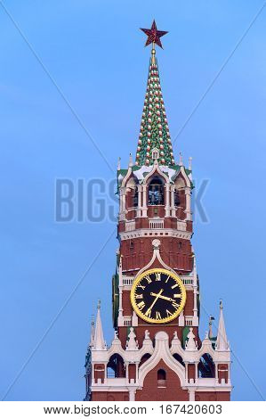 Close up of Spasskaya tower and clock, the main entrance to Kremlin from the Red Square
