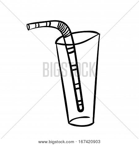 silhouette glass tumbler with straw vector illustration