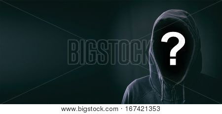 Hooded faceless man on a black background