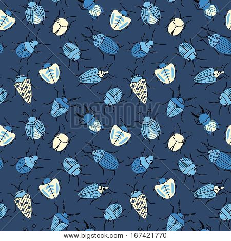 Seamless pattern with cute small beetles. Summer bugs doodle style background. Vector cartoon backdrop with funny insects.