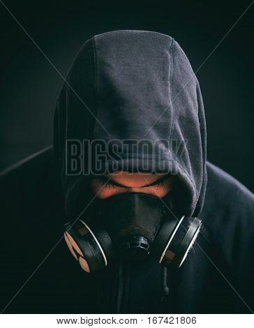 Hooded Man On Black Background
