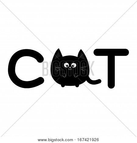Round shape black cat text icon. Lettering. Cute cartoon character. Kawaii animal. Big tail whisker eyes. Happy emotion. Kitty kitten Baby pet collection. White background. Isolated. Flat Vector
