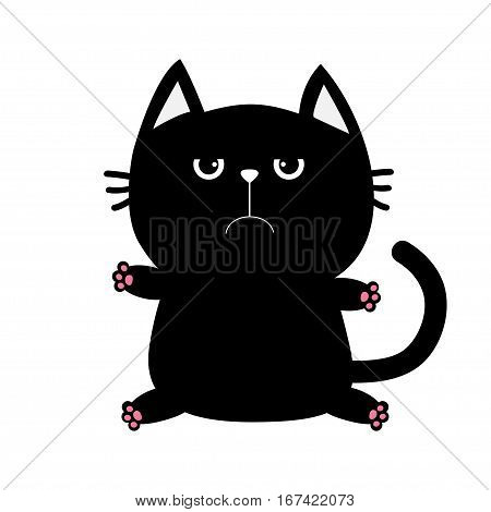 Black cat icon. Cute funny cartoon grumpy character. Kawaii animal. Big tail whisker eyes. Sad emotion. Kitty kitten Baby pet collection. White background. Isolated. Flat design. Vector illustration