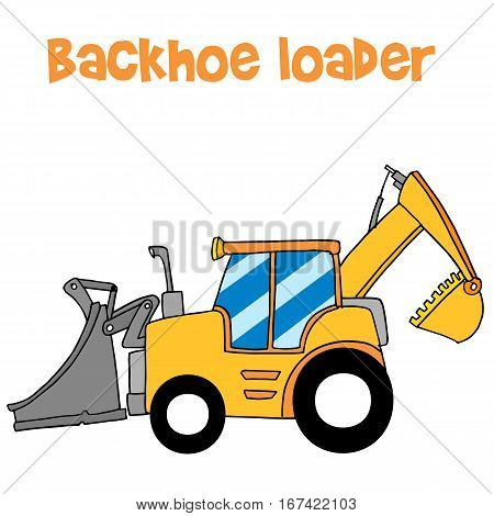 Yellow backhoe loader vector art collection stock