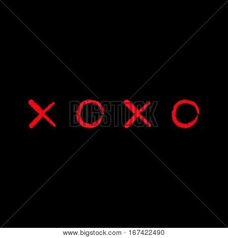 Xoxo Hugs and kisses Sign symbol mark Love card Red Chalk line Word text lettering. Flat design Black background Isolated. Vector illustration