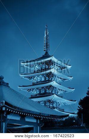Sensoji Temple in Tokyo Japan at night.
