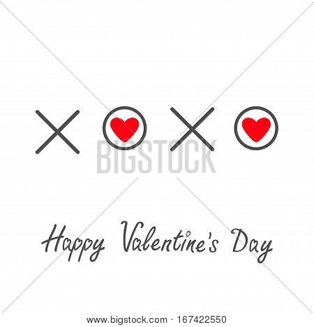 Xoxo Hugs and kisses Sign symbol mark Love Red heart Word text lettering. Happy Valentines day. Greeting card. Flat design White background Isolated. Vector illustration