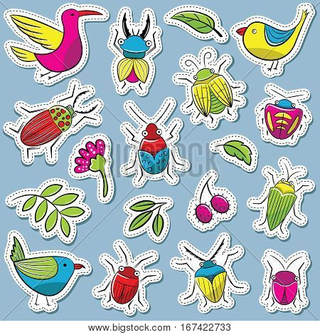 Small funny vector bugs with birds and plants stickers set. Collection of summer beetles and animals doodle style. Cartoon insects icons.