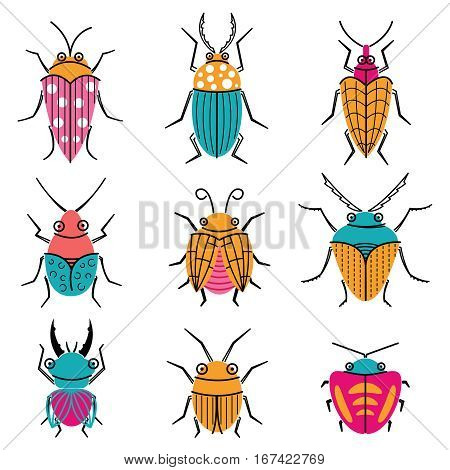 Small funny vector bugs icons. Collection of summer beetles doodle style. Cartoon insects set.