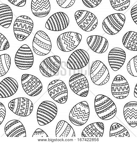 Doodle eggs. Coloring page. Vector seamless pattern with hand drawn eggs. Easter egg with doodle ornament. Coloring page for anti stress coloring book for adult. Black and white illustration. Outline.