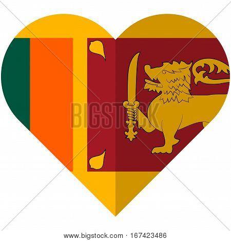 Vector image of the Sri Lanka heart flag