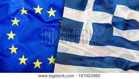 Greece flag. Euro money. Euro currency. Colorful waving greece flag on a euro money background.