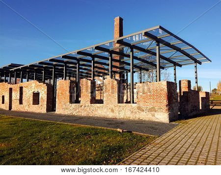 Old ruins with modern glass roof, Tartu