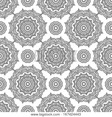 Mandala. Coloring page. Vector seamless pattern with ethnic tribal mandala. Hand drawn doodle elements with ornament. Anti stress coloring page for adult coloring book. Black and white illustration.