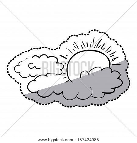 sticker silhouette clouds in heaven with sunlight vector illustration