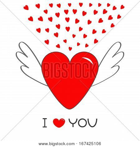 Red heart with wings. Cute cartoon contour sign symbol. Winged shining angel small hearts. Flat design style. I Love you text Greeting card. Isolated. White background. Vector illustration