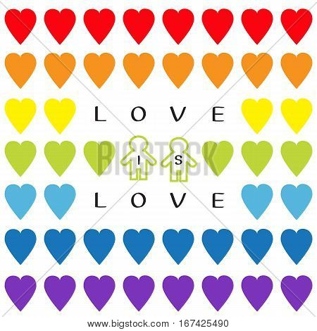 Love is love text. Rainbow heart set. Gay marriage Pride symbol Two contour man sign Seamless Pattern. Lgbt sign symbol. White background. Isolated. Flat design. Vector illustration