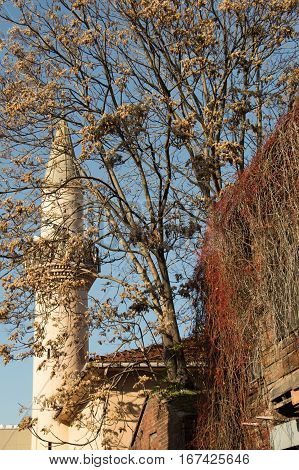Minaret made of stone in Ottoman time Mosques in view