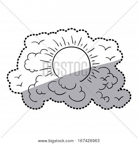 sticker contour clouds in heaven with sun and birds vector illustration