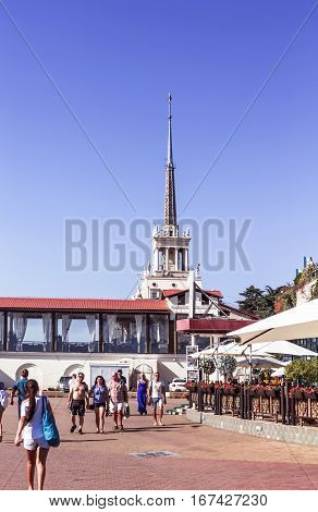 September 28, 2015 - Sochi Russia: spire of the seaport in Sochi, Russia