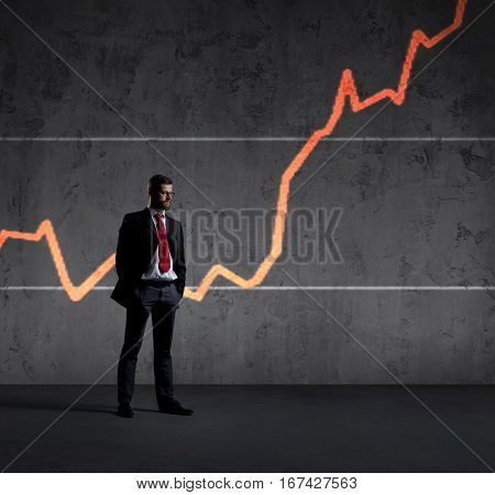 Businessman standing over diagram background. Business, office, success, concept.