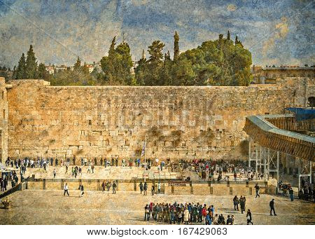Ancient Western Wall of Temple Mount is a major Jewish sacred place and one of the most famous public domain in the world, Jerusalem, Israel. Textured and toned image for inspiration of retro style