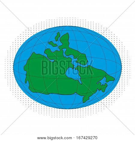 Icon vector map of Canada. Globe map earth