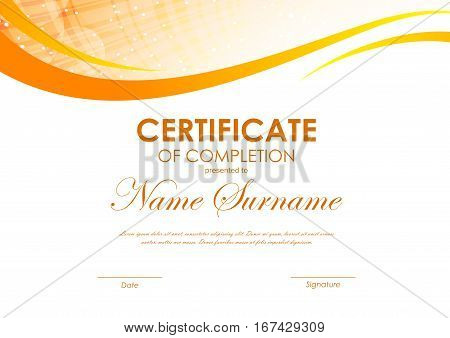 Certificate of completion template with digital dynamic orange wavy background. Vector illustration