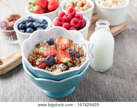 Paleo style breakfast: grain free oat free granola with almond milk and with mixed nuts and fresh berries selective focus