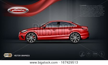 Digital vector red model sedan car with 2 seats and black windows mockup, your brand, ready for print ads or magazine design. Dark background with ribbon. Transparent and shine, realistic 3d style
