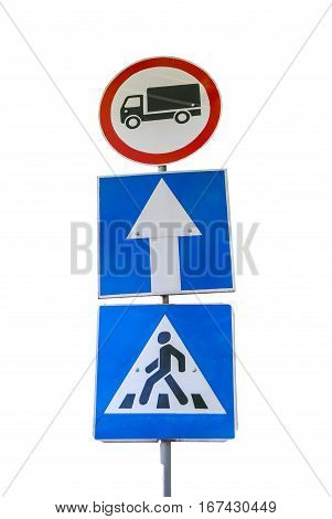 One-way traffic with pedestrian crossing isolated close up