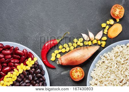 Cooked Red And Black Bean With Rice And Vegetables.