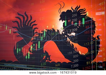 China Stock Market Graph Ticker