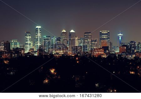 Calgary downtown in Alberta at night, Canada.