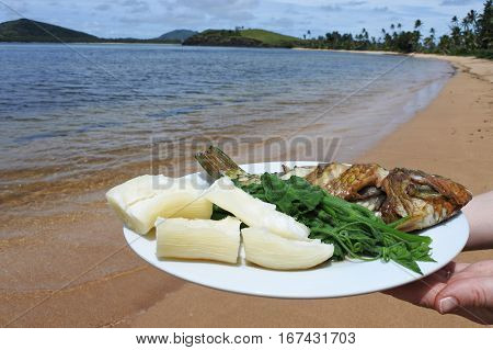 Indigenous Fijian Seafood And Vegetables Dish Fiji