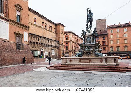 Fountain Neptune On Square In Bologna City