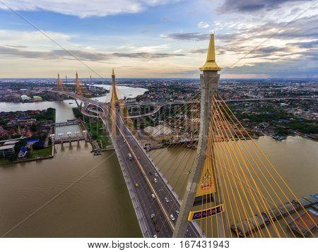 BANGKOK THAILAND SEP 04: Bhumibol bridge in Bangkok in sunset city skyline September 04 2016 in Bangkok Thailand. Bhumibol bridge located in south of Bangkok in industrial zone.
