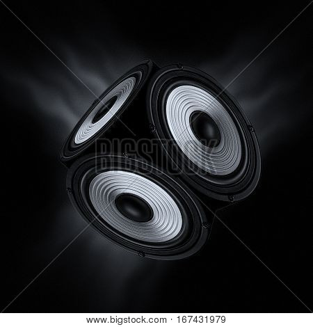 Concept of surround sound. Object with three audio speakers on black background.
