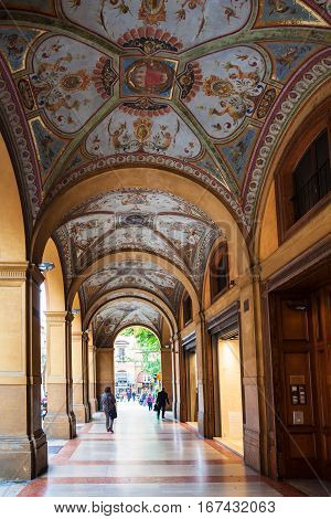 Decorated Arcade On Piazza Cavour In Bologna